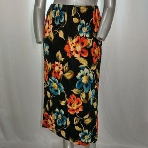 A. Dunner Colorful Flower Stretchy Maxi Skirt, XL